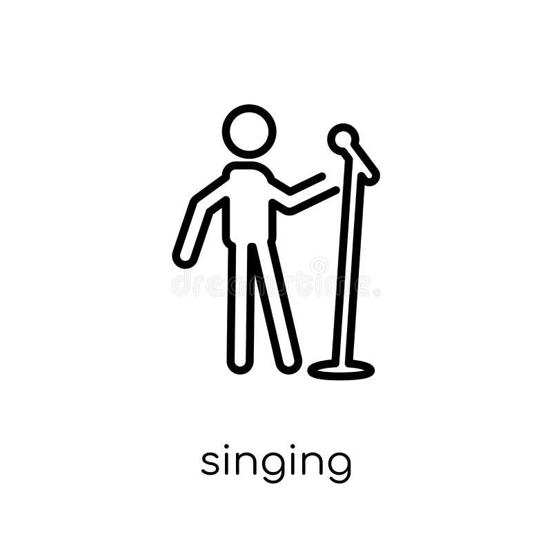 Zingend pictogram In modern vlak lineair vector Zingend pictogram op w stock illustratie