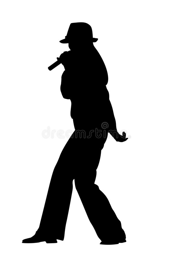 Zingend vrouwensilhouet stock illustratie