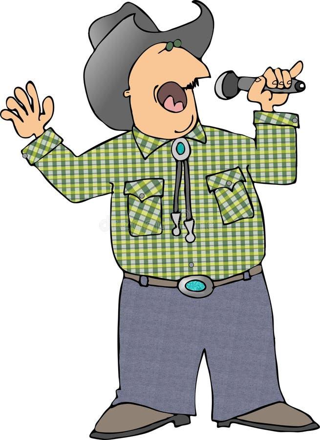 Zingende cowboy stock illustratie