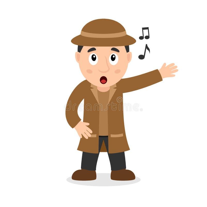 Zingende Detective Cartoon Character stock illustratie