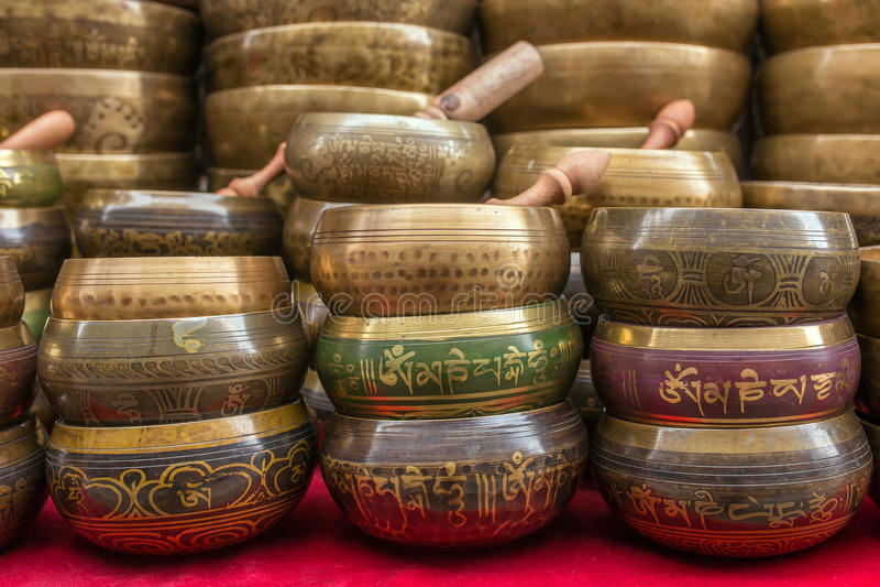 Zingende Kommenkop van het leven - populaire herinnering in Nepal royalty-vrije stock afbeeldingen