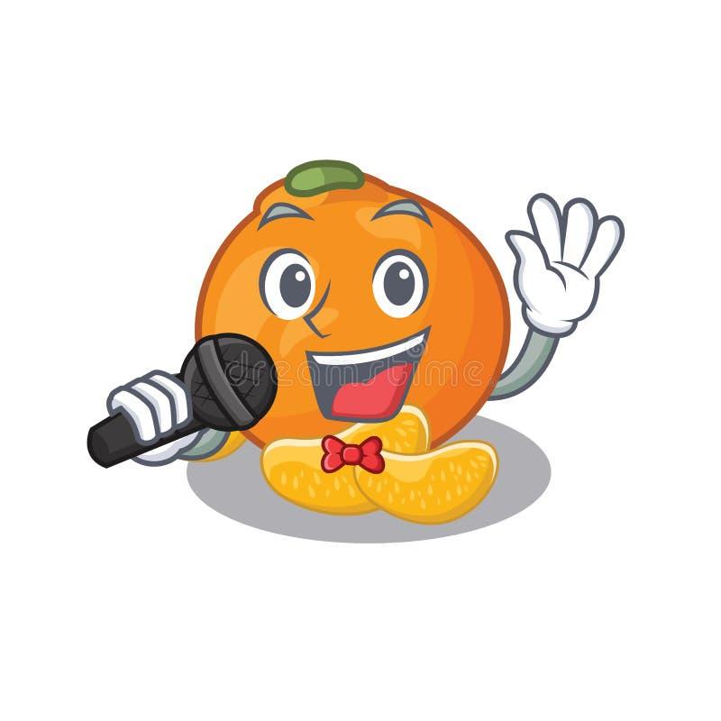 Zingende mandarijn met in de mascottevorm vector illustratie