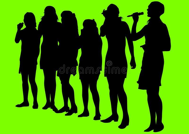 Zingende meisjes royalty-vrije illustratie