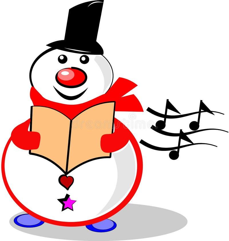 Zingende sneeuwman stock illustratie