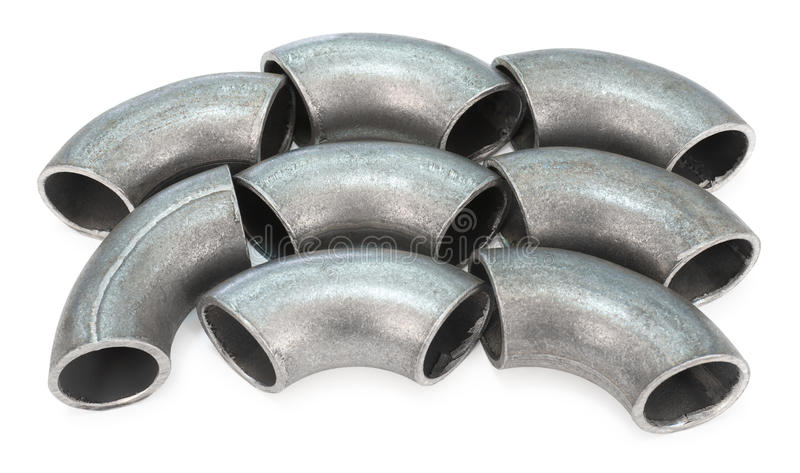 Zinked pipe bends stock image
