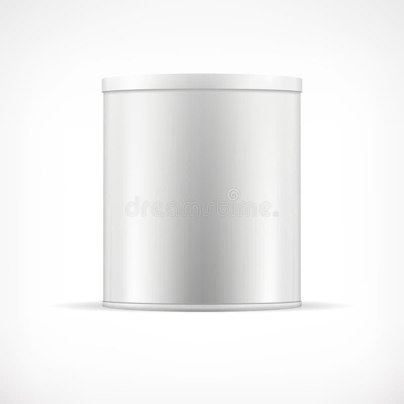 Zinn kann mit Plastikkappe Realistischer runder Behälter stock abbildung