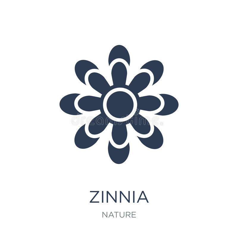 Zinniaikone Modische flache Vektor Zinniaikone auf weißem Hintergrund lizenzfreie abbildung