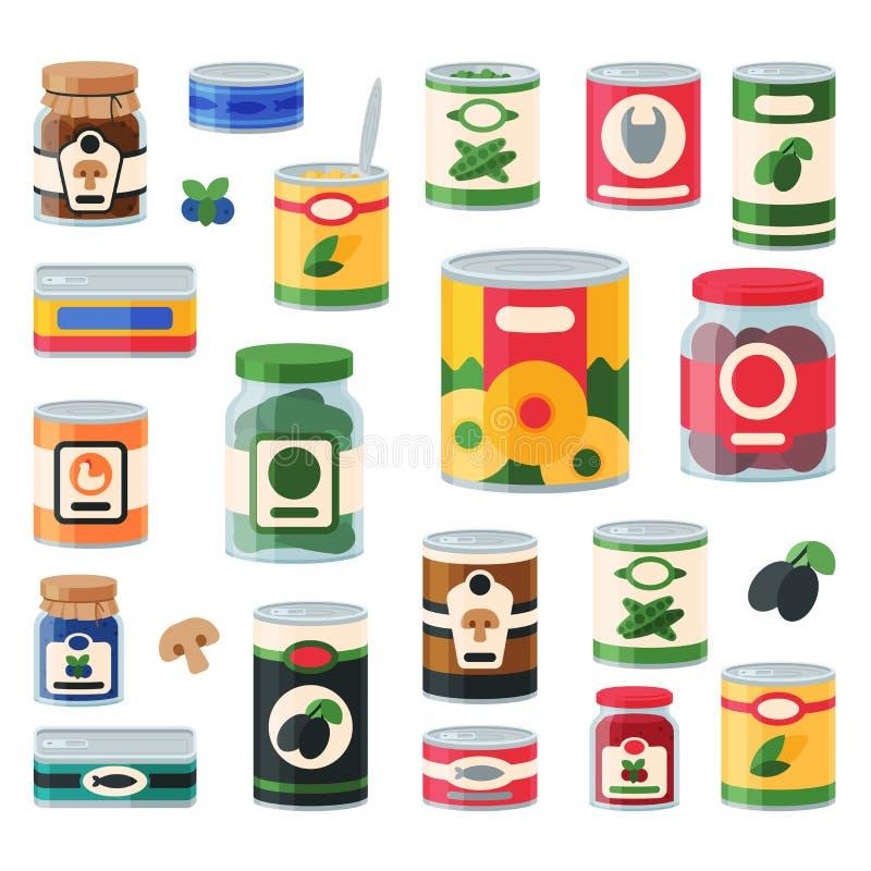 Zinnkonserven-Lebensmittelbehältergemischtwarenladen und Produktspeicheraluminiumaufkleber konservieren Vektorillustration lizenzfreie abbildung