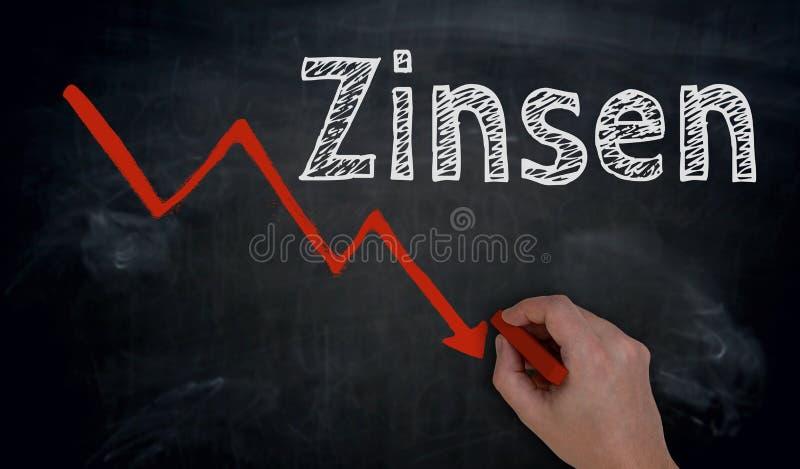 Zinsen im deutschen Interesse und im Diagramm wird eigenhändig auf blac geschrieben stockbild