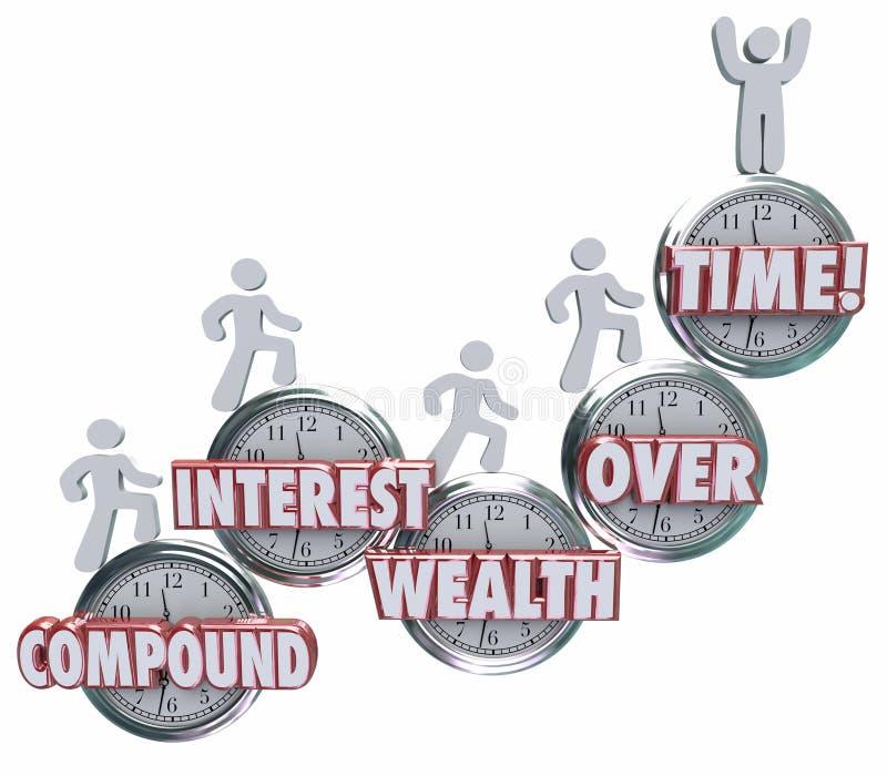 Zinseszins-Reichtum stoppen im Laufe der Zeit die Wort-Leute ab, die Montag sparen lizenzfreie abbildung