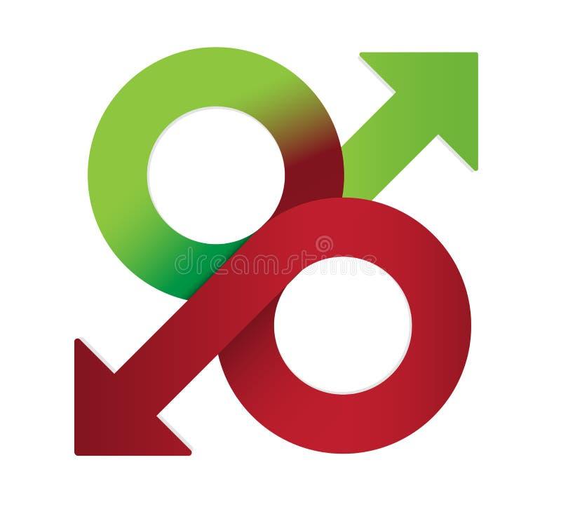 Zinssatzsymbol Prozentsatzdesign auf und ab Konzept Vektorvorrat stock abbildung