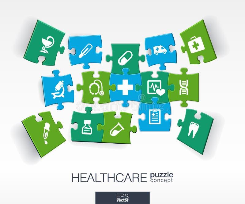 Zintegrowane płaskie ikony 3d infographic pojęcie z medycznym, zdrowie, opieka zdrowotna, krzyży kawałki w perspektywie ilustracja wektor