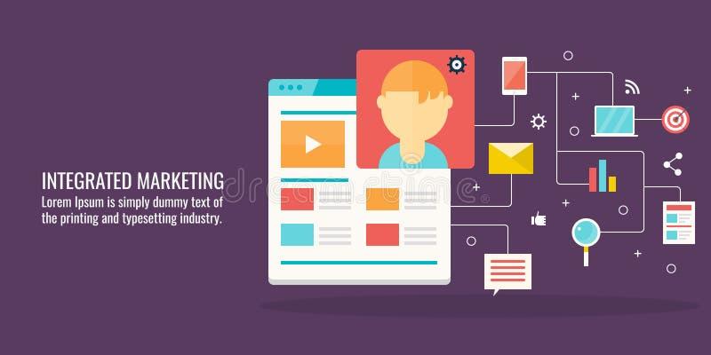 Zintegrowany marketing, klient interakcja, komunikacja, cyfrowy networking pojęcie Płaski projekta wektoru sztandar ilustracja wektor