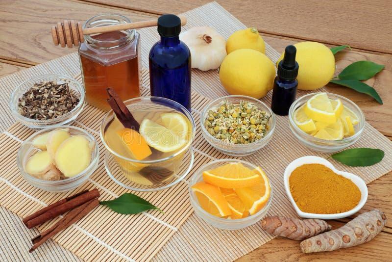 Ziołowa medycyna dla grypy i Zimnego remedium obraz stock