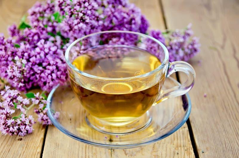 Ziołowa herbata od oregano w szklanej filiżance na pokładzie fotografia stock
