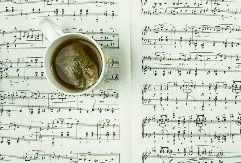 Ziołowa herbata w białej filiżance przy prześcieradłem z muzykalnymi notatkami jako tło zdjęcia royalty free