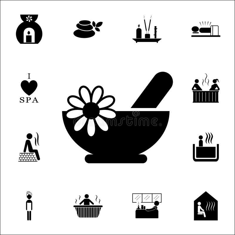 ziołowa kąpielowa czarna ikona ZDRÓJ ikon ogólnoludzki ustawiający dla sieci i wiszącej ozdoby royalty ilustracja