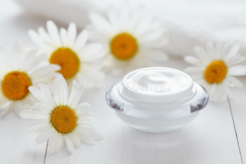 Ziołowa kosmetyczna anta zmarszczenie śmietanka z chamomile witaminy naturalnym moisturizer zdjęcie stock