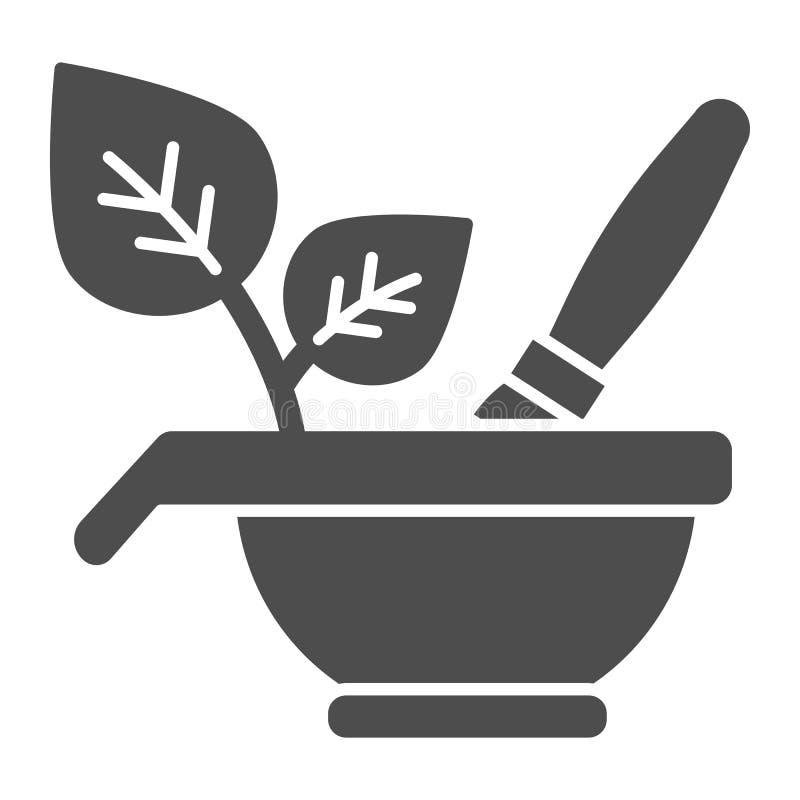 Ziołowa kosmetyk bryły ikona Naturalnych kosmetyków wektorowa ilustracja odizolowywająca na bielu Puchar i muśnięcie z eco znaka  royalty ilustracja