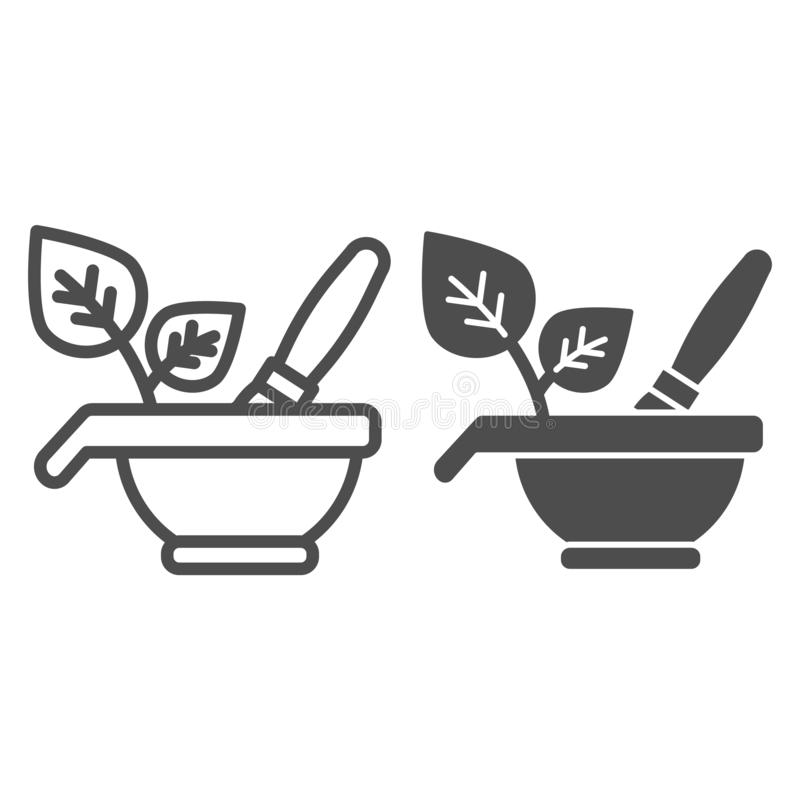Ziołowa kosmetyk linia i glif ikona Naturalnych kosmetyków wektorowa ilustracja odizolowywająca na bielu Puchar i muśnięcie z eco ilustracji