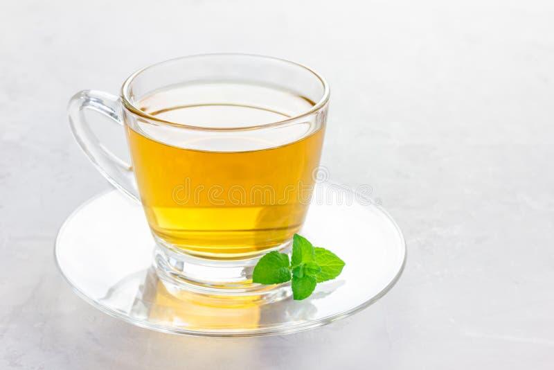 Ziołowa nowa herbata w szklanej filiżance z świeżą miętówką na tle, horyzontalnym, kopii przestrzeń obrazy stock