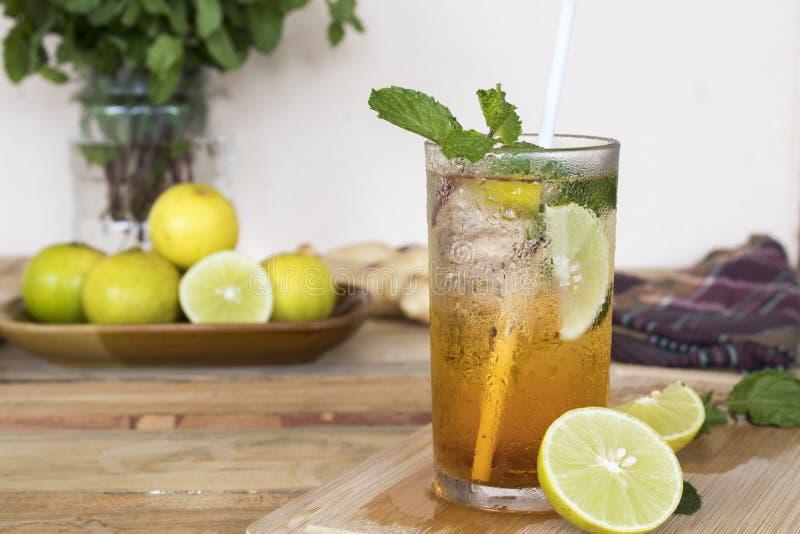 Ziołowej zdrowej napój zimnej cytryny koktajlu herbaciana woda fotografia royalty free