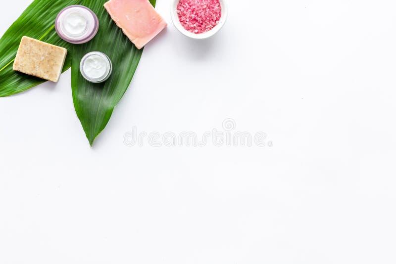 Ziołowy kosmetyczny ustawiający dla domowej roboty zdroju na białej tło odgórnego widoku przestrzeni dla teksta zdjęcia stock