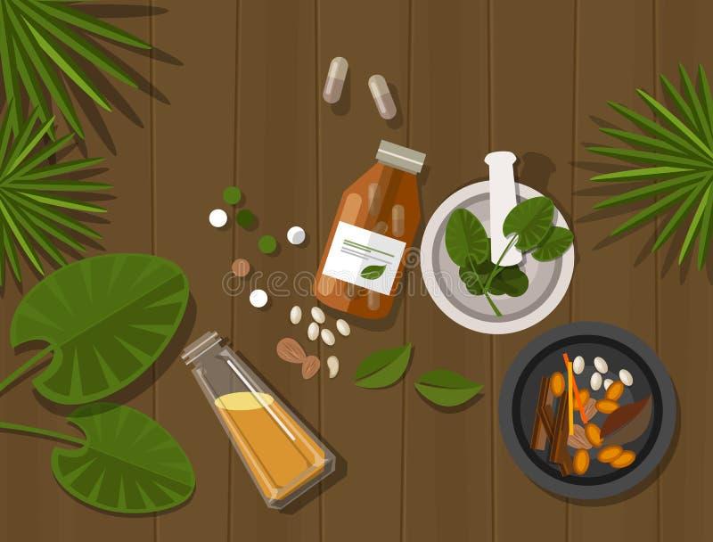Ziołowy naturalny lekarstw zdrowie natury gojenie royalty ilustracja