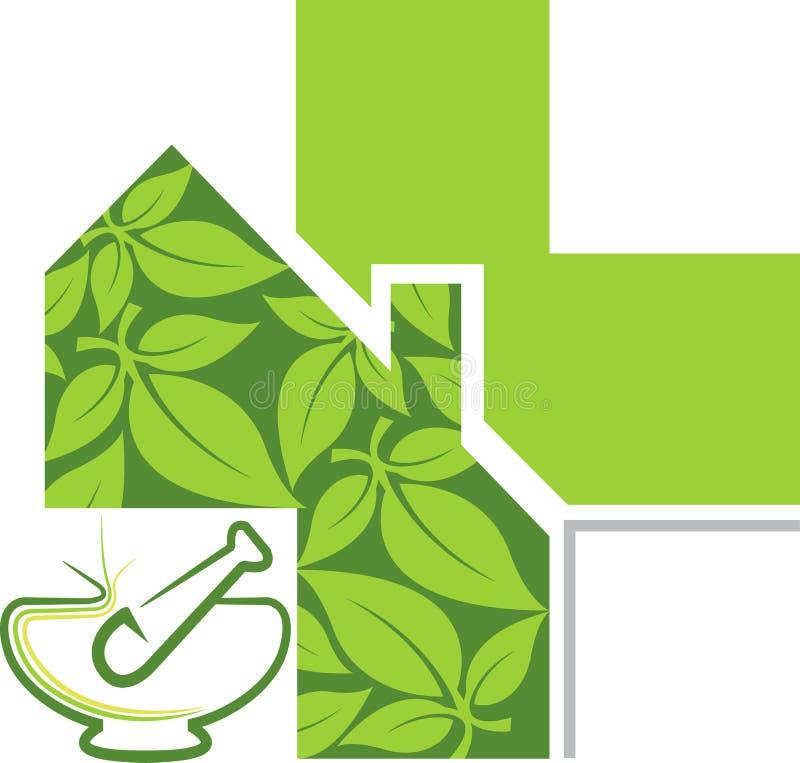Ziołowy terapia logo royalty ilustracja