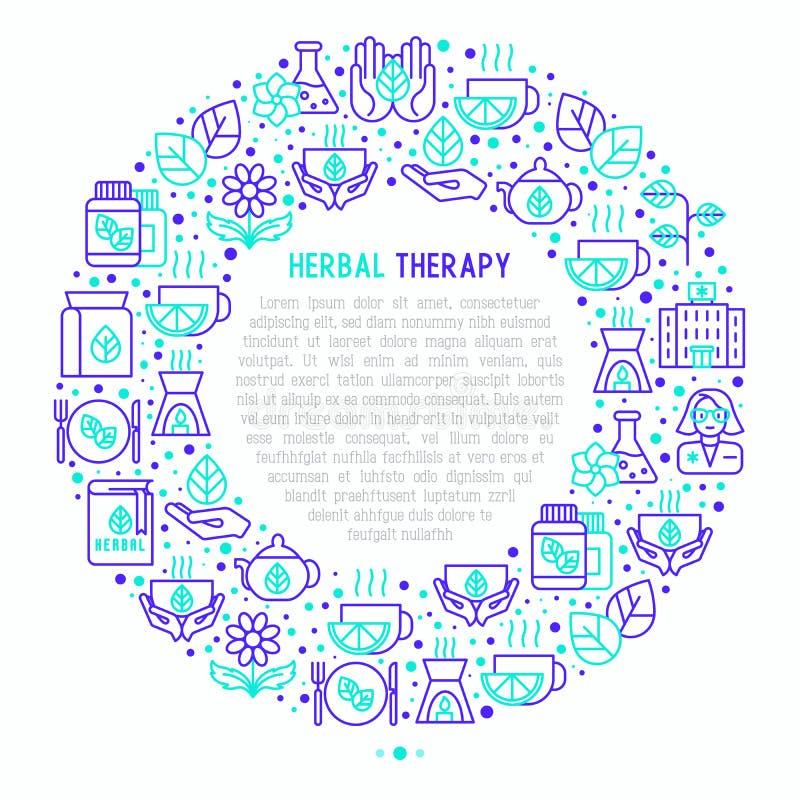 Ziołowy terapii pojęcie w okręgu ilustracji