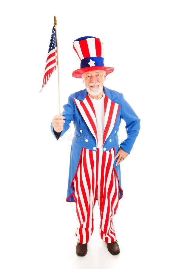 Zio Sam con la bandiera americana immagine stock libera da diritti