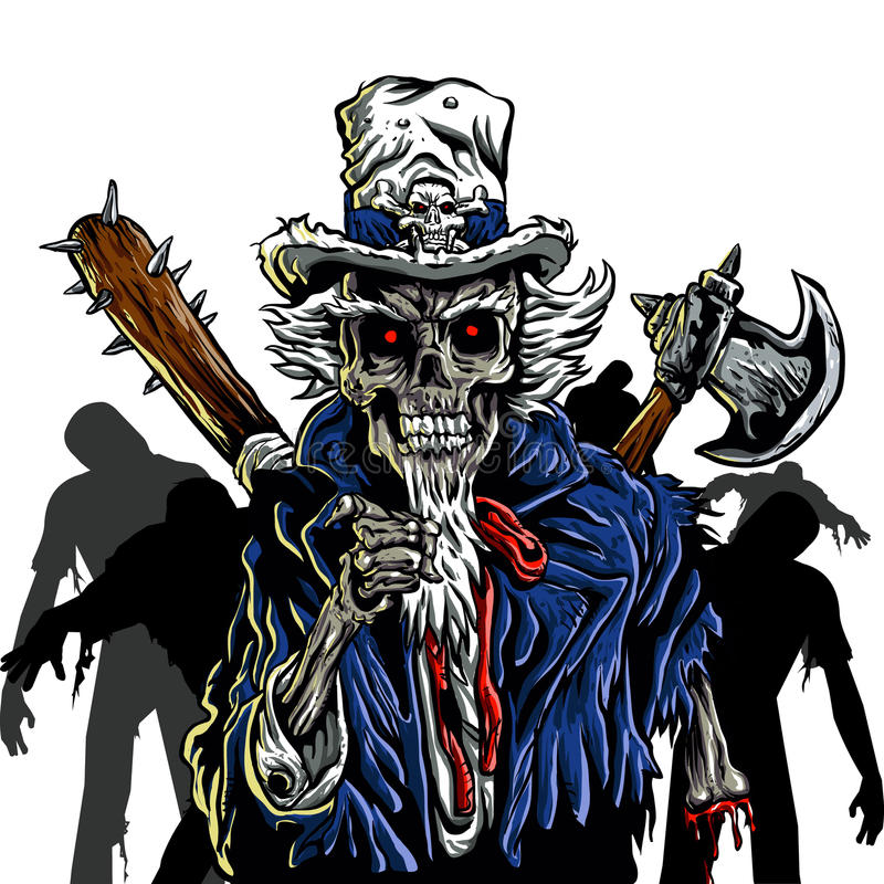 Zio Sam dello zombie illustrazione vettoriale