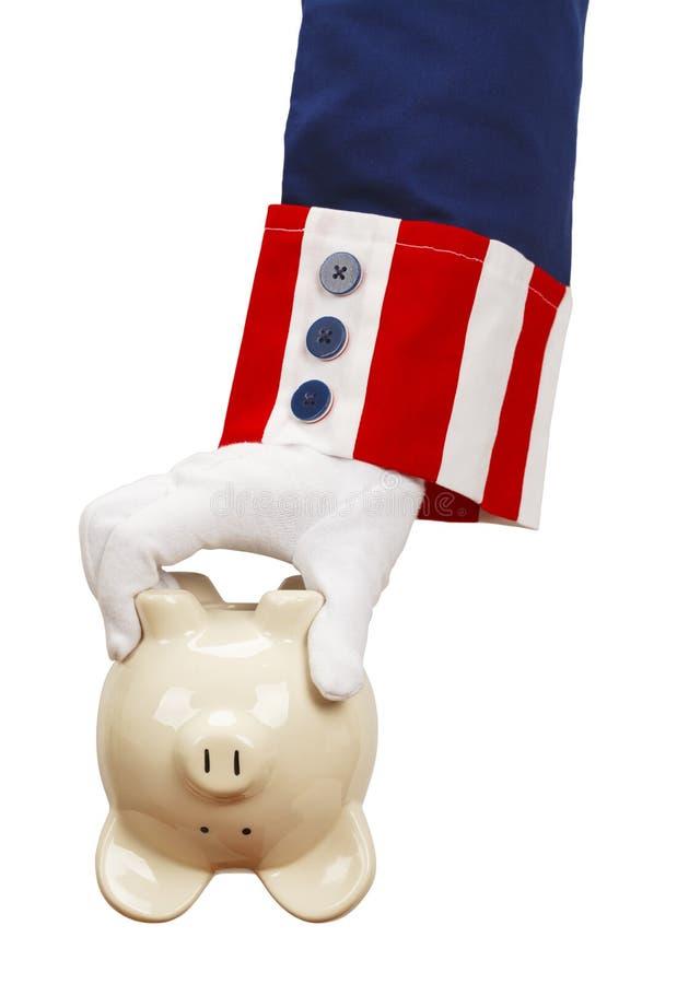 Zio Sam Piggy Bank immagini stock