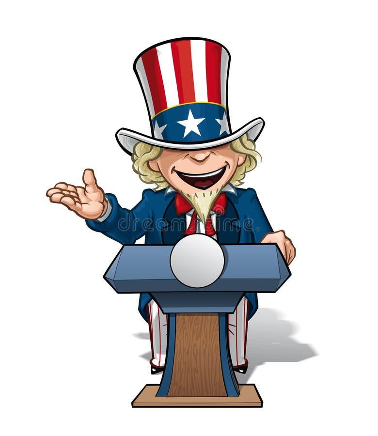 Zio Sam Presidential Podium Open illustrazione di stock