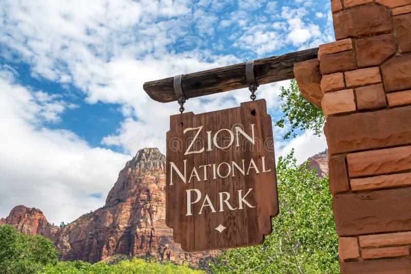 zion знака национального парка входа стоковые изображения