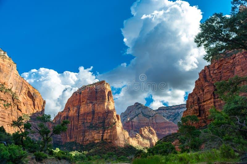 Zion_Canyon_Angels_Landing immagini stock libere da diritti