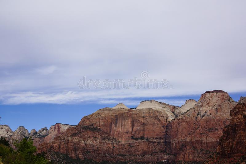 Zion canyon mountain top royalty free stock image
