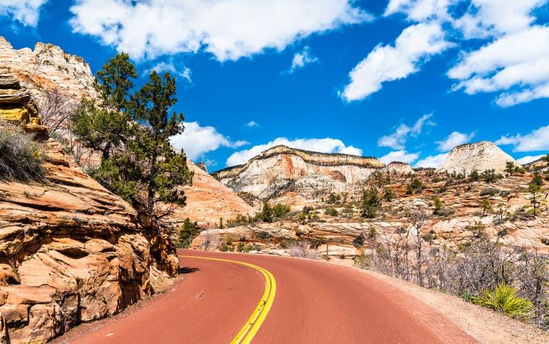 Zion-Mount Carmel Highway in Zion National Park royalty-vrije stock foto