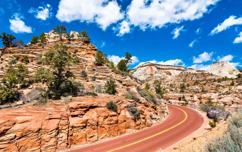 Zion-Mount Carmel Highway in Zion National Park royalty-vrije stock foto's