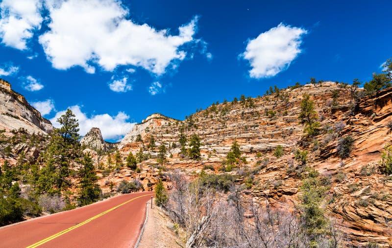Zion-Mount Carmel Highway in Zion National Park royalty-vrije stock afbeeldingen