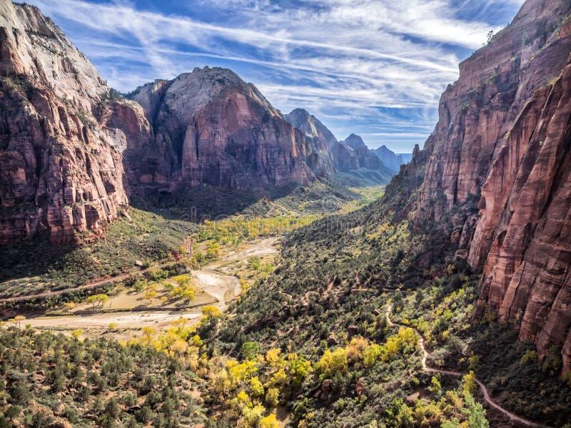 Zion National Park do trajeto aos anjos que aterram, Utá fotos de stock