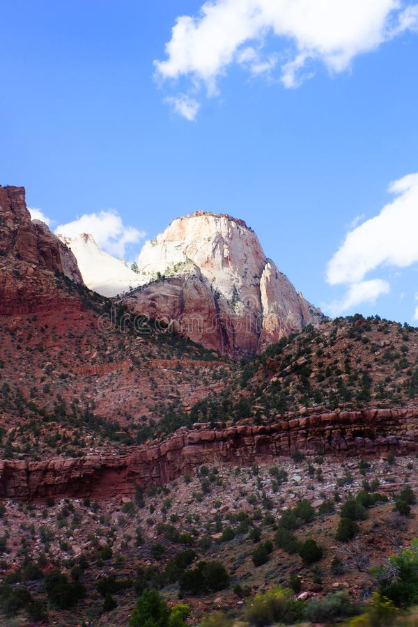 Zion National Park Mountain Peak Vertical stock afbeelding