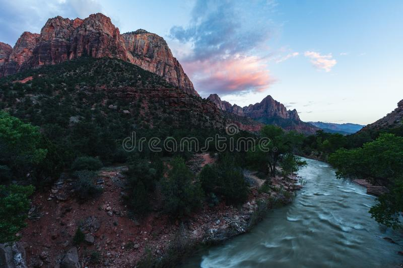 Zion National Park is one of the most beautiful parks in the US, Utah. Canyon Overlook Trail offers beautiful views, sunrises or stock photography