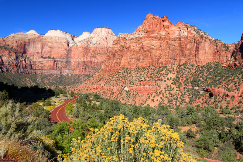 Zion National Park Scenery. Landscape scenery of Zion National Park in southwest Utah stock image
