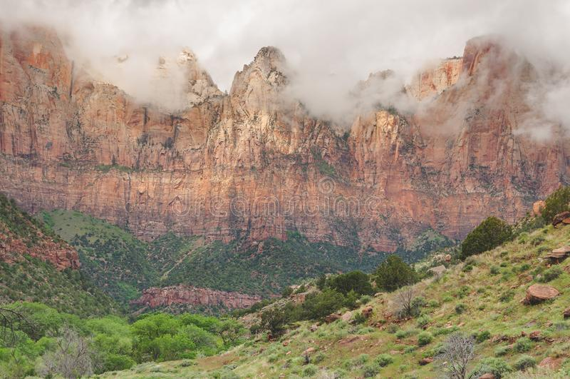 Zion National Park Utah USA: Stort parkera med att förbluffa under av naturen fotografering för bildbyråer