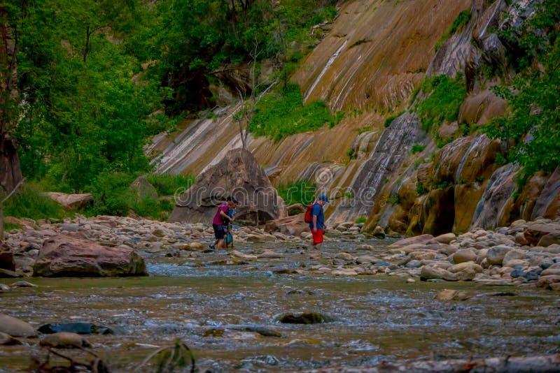 ZION, UTAH, usa - CZERWIEC 14, 2018: Plenerowy widok niezidentyfikowani ludzie wycieczkuje w zion przesmyku z dziewiczą rzeką w l zdjęcia stock