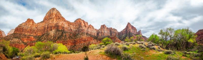 Zion View Panorama in de Lente royalty-vrije stock foto's