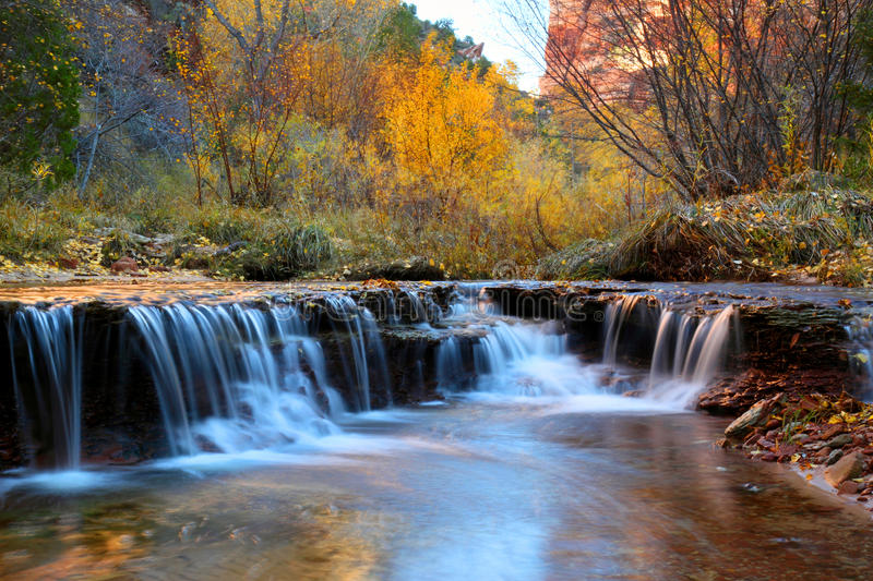 Zion Waterfall. Waterfall in autumn on the way to the subway in zion national park