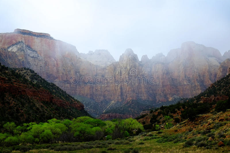 Zions National Park Mountains Rainstorm Trees Foliage. Zions National Park mountain in rainstorm with trees and foliage royalty free stock photography