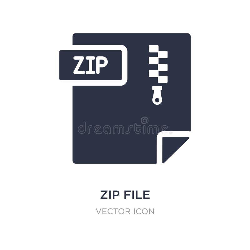 Zip Datei Ikone auf weißem Hintergrund Einfache Elementillustration von UI-Konzept lizenzfreie abbildung